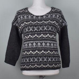 LOFT Grey Cream Knit Wool Pullover Sweater Sz S